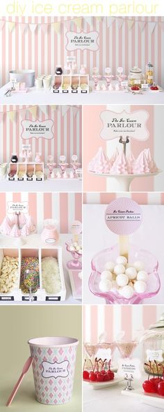 Pink and White Ice cream parlor at your wedding!