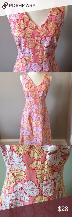 """Izod Flowered Dress In excellent preloved condition. Izod v-neck, shift dress. Gorgeous flower print in soft hues of peach and yellow. Fully lined in cotton. Stitched down front pleats with a back zipper and hook. Quality product.  Bust 19"""" waist 16"""" skirt length 26.5"""" Size medium. Izod Dresses"""