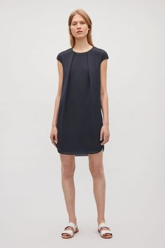 COS image 7 of Soft pleat A-line dress in Navy