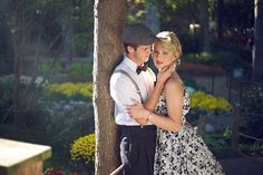 1950s retro vintage styled engagement session, 1950s retro vintage couple