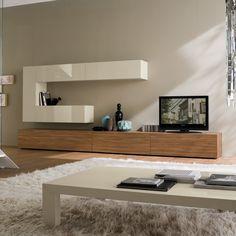 Matrix 09 Moderne Wohnwand Mit Schubkästen Aus Melamin Nuß Und  Hängeschränke In Der Ausführung Seil Hochglanz