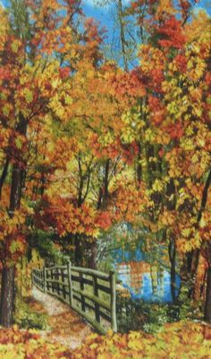 Autumn Landscape Nature Quilt Sew Fabric TIMELESS TREASURES #TimelessTreasuresFabric Timeless Treasures Fabric, Autumn, Quilts, Landscape, Sewing, Nature, Painting, Art, Fall Landscape