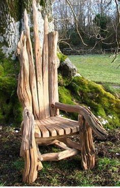 Up-cycling driftwood furniture is a brilliant idea and it's also eco friendly because for making this amazing kind of furniture you are using old wood. Using driftwood doesn't always mean that it… Twig Furniture, Driftwood Furniture, Driftwood Projects, Driftwood Art, Upcycled Furniture, Garden Furniture, Furniture Chairs, Furniture Stores, Furniture Ideas
