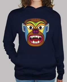 Sudadera mujer de mascara etnica de gorila / hombre lobo inspirado en las mascaras andinas de ecuador