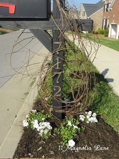 Unwrap a grapevine wreath and wind it around your mailbox as a trellis for jasmine or other climbing vines.  Rustic and inexpensive mailbox update from 11 Magnolia Lane.