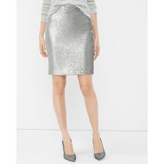 White House Black Market Silver Sequin Pencil Skirt ($60) ❤ liked on Polyvore featuring skirts, iridescent sequin skirt, wet look skirt, white house black market, silver skirt and sequin skirt
