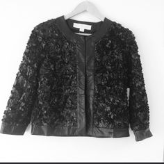 Reduced Hp 💋Favorite 💋Gorgeous Rosette Jacket💋 Intricate laser-cut detail. Hook-and-eye closure. Fully lined. • Polyurethane. • Faux leather: polyester. • Imported. • Dry clean. • Sensuously shaped. • Sizes 8, 10 • Proper black. Boston Proper Jackets & Coats