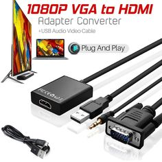 6ft 1080p Cable HDMI Male to VGA 15Pin Male Video Lead CHJ HDMI Adapter Cabel