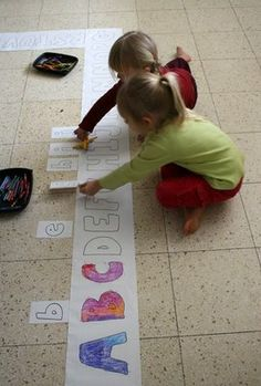 Lowercase and uppercase floor alphabet game