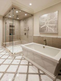 Spa-Worthy Bathroom With Soaker Tub and Walk-In Shower Rustic Bathroom Vanities, Bathroom Spa, Modern Bathroom, Small Bathroom, Master Bathroom, Bathroom Marble, Bathroom Ideas, Shower Ideas, Budget Bathroom