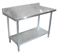 125 commercial kitchen stainless steel work prep table 24 x 24 with 4 backsplash - Kitchen Steel Table