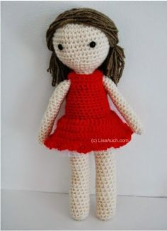 Free Basic Crochet Amigurumi Doll Pattern. Make your very first crochet doll with this easy to follow free pattern. With photos and Tips to help you. One Piece body,  head and legs doll pattern
