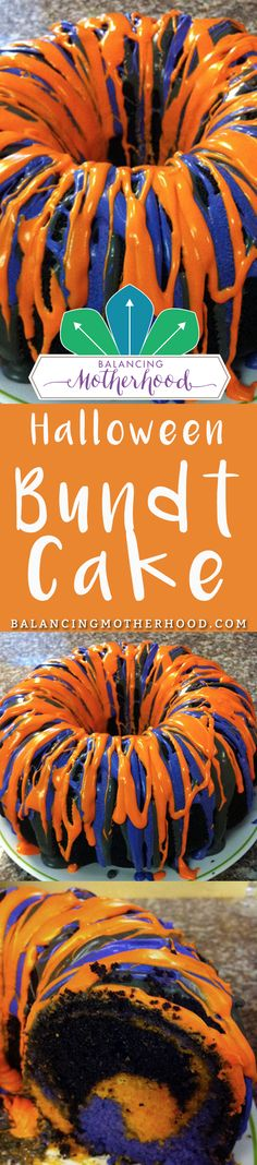Orange and purple-colored chocolate bundt cake is so easy to make using a box mix and a few drops of food coloring! Try it for Halloween. The kids will love it. Click through to see how easy it is to make the swirl inside. #Halloween