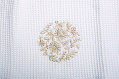 Embroidered Hand Towel #flowers #gold #beige