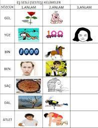 eş sesli kelimeler listesi ile ilgili görsel sonucu