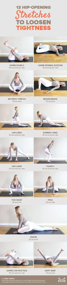 13 Easy Stretches to Release Hip Pain 13 Hip-Opening Stretches to Loosen Tightness Hip Opening Stretches, Easy Stretches, Stretching Exercises, Massage, Qi Gong, Hip Pain, Back Pain, Yoga Sequences, Yoga Poses