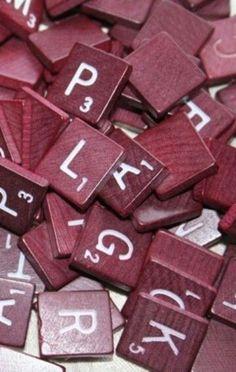 Vintage Scrabble Tiles ~ Maroon
