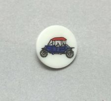 Vintage Plastic Picture Decal Button - RED & BLUE MODEL T TYPE CAR