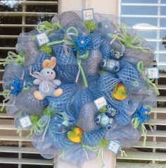 Baby Boy Deco Mesh Wreath with Bunny. $85.00, via Etsy.