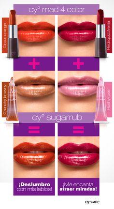 Para mejores resultados, combina un tono del labial Cyº Mad 4 color con otro del brillo Cyº Sugarrub ;) >>>