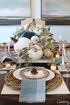 Fall tabletop top decor ideas - so pretty with those velvet pumpkins! Thanksgiving Decorations, Seasonal Decor, Table Decorations, Holiday Decor, Thanksgiving Table, Easy Home Decor, Cheap Home Decor, Decoration Bedroom, Wall Decor