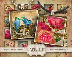 ANTIQUE ICONS  1x1 inch Digital Collage Sheet for glass by ArtCult, $4,50