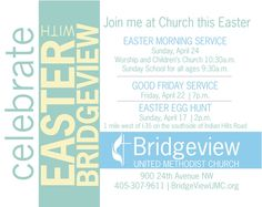 BridgeView United Methodist Church Easter Service Flyer - Horizontal