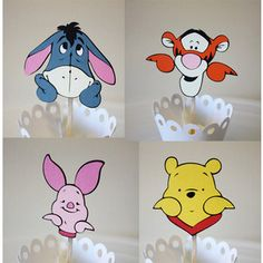 Peek A Boo Winnie The Pooh & Friends Cupcake Toppers / Cake Topper / Centerpieces Winnie The Pooh Honey, Winnie The Pooh Themes, Winnie The Pooh Birthday, Baby Boy 1st Birthday, 1st Birthday Parties, Eeyore, Tigger, Disney Babys, Baby Disney