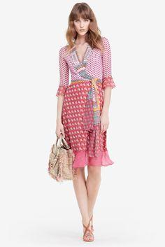DVF Nieves Silk and Chiffon Combo Wrap Dress