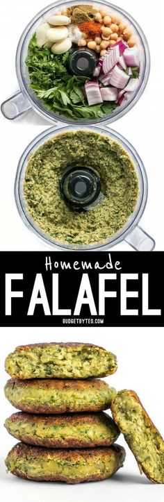 Falafel are an ultra flavorful Mediterranean bean patty packed with fresh herbs and spices. Enjoy as an appetizer, on a salad, or stuffed into a pita. meals meatless Easy Homemade Falafel - Vegan - Step by Step Photos - Budget Bytes Veggie Recipes, Whole Food Recipes, Cooking Recipes, Dinner Recipes, Vegetarian Cooking, Veggie Food, Lebanese Food Recipes, Sweet Recipes, Soup Recipes