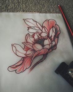 Japanese Lotus tattoo sketch by Akos