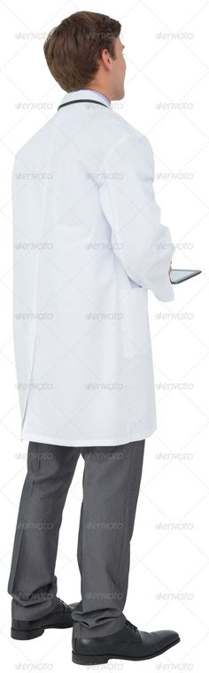 Young doctor in lab coat using tablet pc on white background ...  20s, caucasian, cut out, digital tablet, doctor, health service, healthcare, isolated, lab coat, male, man, medical, practitioner, profession, professional, scrolling, specialist, tablet, tablet computer, tablet pc, touching, touchscreen, uniform, using, white background, young adult