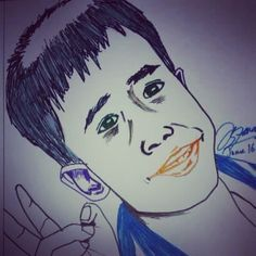 I want to empty my old markers stock,so i quick #sketch my nephew.His face look weird & his hand too big. :D.