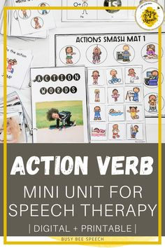 This printable and digital action verbs resource includes hands-on ideas and activities for you to target action verbs with your caseload! It includes real pictures, sentence strips with mini cards, task cards, playdough mats, an interactive book, and take-home sheets!