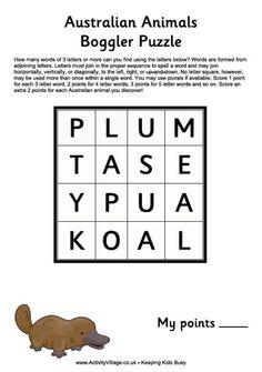 Australian animals boggler puzzle
