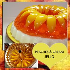 Peaches and Cream Jello Recipe. This is really pretty! I think I need to buy a bundt pan. Jello Deserts, Köstliche Desserts, Delicious Desserts, Dessert Recipes, Yummy Food, Jello With Fruit, Congealed Salad, Jello Cake, Sweet Treats