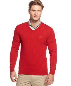 Greg Norman for Tasso Elba Tonal Argyle V-Neck Golf Sweater