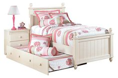 Cream Cottage Cottage Retreat Twin Poster Bed with Trundle View 2
