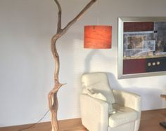 Floor Lamp / arc lamp weathered old Oak branch on por GBHNatureArt