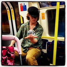 Saw this #kooky guy on the #tube with his #sphere thingy! It's a #KookyLondon https://itunes.apple.com/gb/app/kooky-london/id625209296?mt=8 #ig_London #London #igLondon #London_only #London_gram #UK #England #GreatBritain #British #iPhonesia #iPhone #App #quirky #odd #weird #photofthday #photography #picoftheday #igerslondon #igerslondon #londonpop #lovelondon #timeoutlondon #londonlife #instalondon #londonstreet #click_london #Padgram