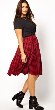 October 24th Launch: Skater Skirt In Check by Asos Curve