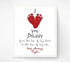 Valentines Day Gift for New Dad - I Love You Daddy Baby Footprint Art Print, Red Heart, Baby& First Valentines Day, Gift for Grandfather valentinecrafts Fathers Day Crafts, Valentine Day Crafts, Be My Valentine, Daddy Valentine Gifts, Valentine Crafts For Toddlers, First Valentines Day Baby, Fathers Day Poems, First Fathers Day, Holiday Crafts
