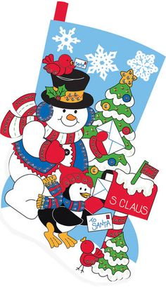 "Quick & Easy Snowman Stocking Felt Applique Kit - 18"" Long  $11.89"