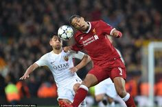 Virgil van Dijk battles for an aerial challenge with Roma centre back Kostas Manolas as Liverpool began to settle into the tie Virgil Van Dijk, Mo Salah, Liverpool Fc, Centre, Challenges, Football, Tie, Sports, Hs Sports