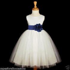 NAVY BLUE IVORY DRESS KIDS FLOWER GIRL