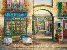 Ceramic Tile Mural Backsplash Ching French Cafe Village Art CHC077 #ArtworkOnTile #Modern