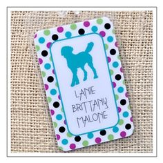 Teal Polka Dot Personalized Dog Breed Luggage Tag. Cute Christmas gift for dog lovers. $15 for two tags. SAVE 15% now with coupon code DOGPIN at www.bestfriendsstudios.com. Just CLICK on the pic!
