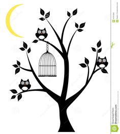 owl-tree-vector-silhouette-owls-cage-moon-crescent-43761690.jpg (1159×1300)