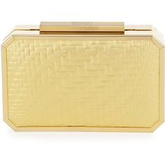 Badgley Mischka Katrina Framed Leather Evening Clutch Bag ($165) ❤ liked on Polyvore featuring bags, handbags, clutches, gold, evening clutches, badgley mischka purses, beige leather purse, real leather handbags and badgley mischka handbags