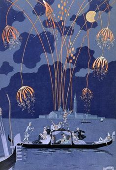 """""""En bateau"""" or Fireworks in Venice, by Georges Barbier, 1928. For Fetes Galantes by Paul Verlaine"""